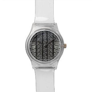 Textura automotriz de goma del neumático relojes de pulsera