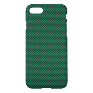 Textura automotriz de la fibra de carbono verde funda para iPhone 7