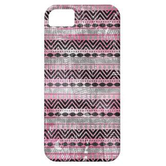 Textura azteca negra gris rosada 311 iPhone 5 Case-Mate protectores