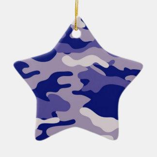 Textura azul de Camo del camuflaje Adorno Navideño De Cerámica En Forma De Estrella