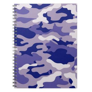 Textura azul de Camo del camuflaje Libretas Espirales