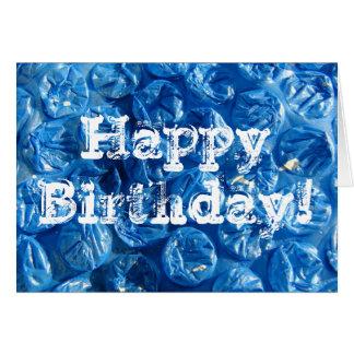 ¡Textura azul de la burbuja feliz cumpleaños Felicitacion