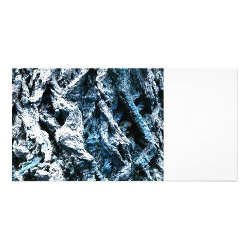 Textura azul del fondo del tinte de la corteza de  tarjetas con fotos personalizadas