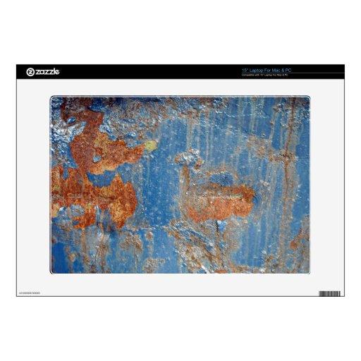 Textura azul del metal del moho calcomanías para 38,1cm portátiles