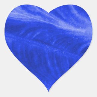 Textura azul del oído de elefante pegatina en forma de corazón