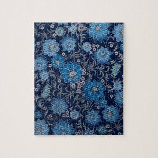Textura azul floral retra del dril de algodón de puzzle