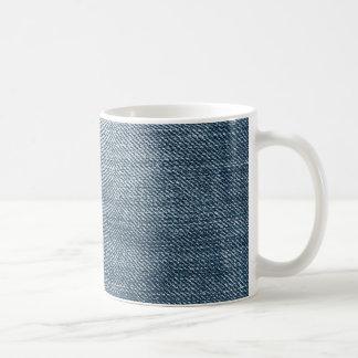 Textura azul retra del dril de algodón taza de café