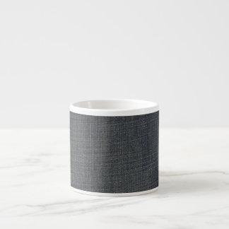 Textura azul retra del dril de algodón taza espresso