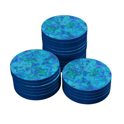 Textura azul TPD del arte abstracto Fichas De Póquer