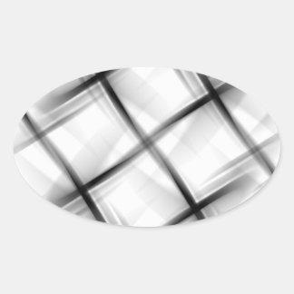 Textura blanca de la armadura de cesta pegatina ovalada