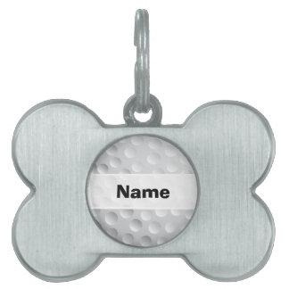 Textura blanca fresca de la pelota de golf, placa de nombre de mascota