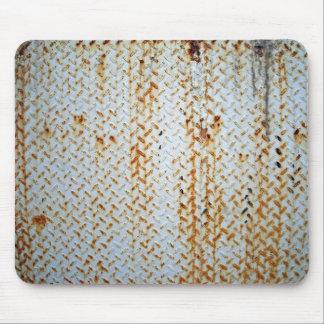 Textura blanca oxidada de la placa de la pisada tapete de ratón
