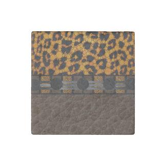 Textura brillante de Brown del leopardo Imán De Piedra