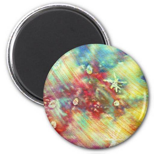 Textura colorida de la acuarela iman de frigorífico