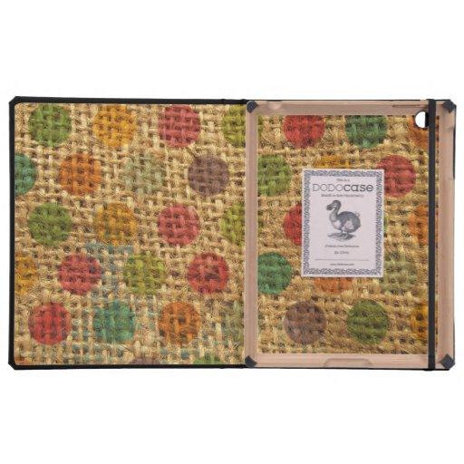 Textura colorida de la arpillera de la tela del Gr iPad Funda