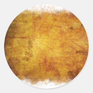 Textura colorida de las hojas de otoño pegatina redonda