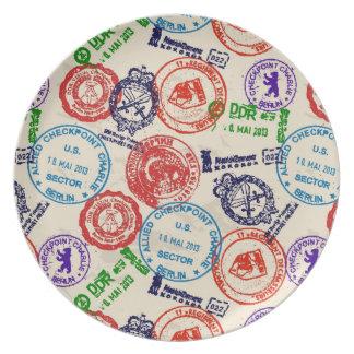 Textura con los sellos reales platos de comidas