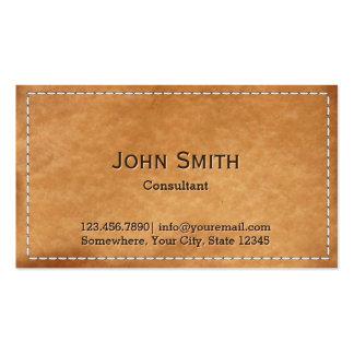 Textura cosida vintage del cuero del marco tarjetas de visita