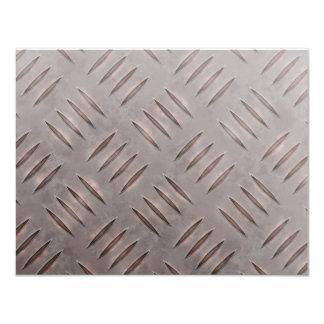 """Textura de acero de la placa del diamante invitación 4.25"""" x 5.5"""""""