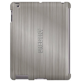 Textura de aluminio cepillada gris clara metálica funda para iPad