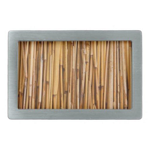 Textura de bambú hebillas cinturón rectangulares