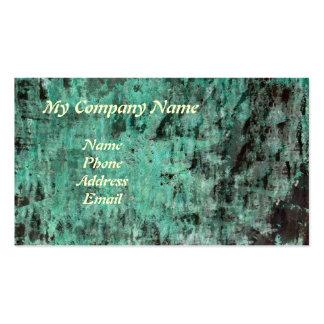 Textura de cobre verde de la pátina tarjetas de visita