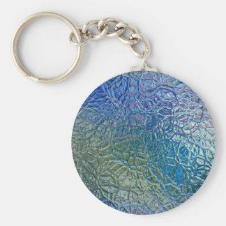 Textura de cristal coloreada, superficie brillante llavero redondo tipo pin
