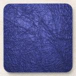 textura de cuero azul posavasos de bebidas