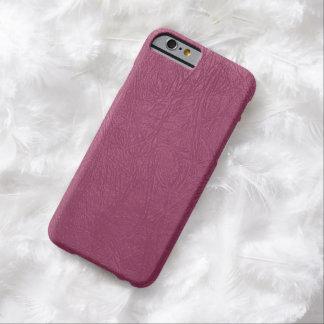 Textura de cuero, fondo de cuero - rosa funda de iPhone 6 barely there