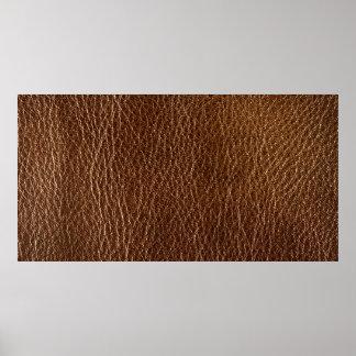 textura de cuero marrón impresa poster
