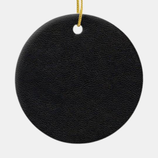 Textura de cuero negra adorno navideño redondo de cerámica
