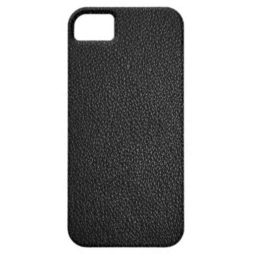Textura de cuero negra para el fondo iPhone 5 fundas