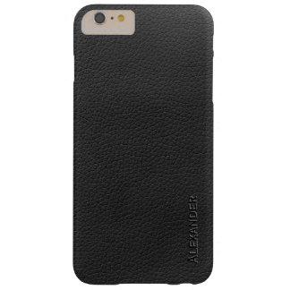 Textura de cuero negra personalizada funda de iPhone 6 plus barely there