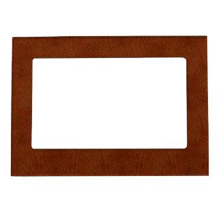 Textura de cuero retra quemada anaranjado oscuro marcos magnéticos de fotos