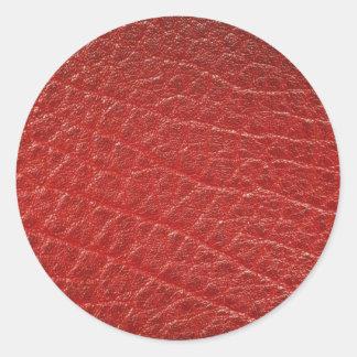 Textura de cuero roja ilustrativa pegatina redonda