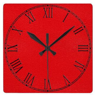Textura de cuero roja magnífica reloj de pared