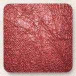 textura de cuero roja posavasos de bebida