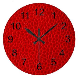 Textura de cuero roja reloj de pared