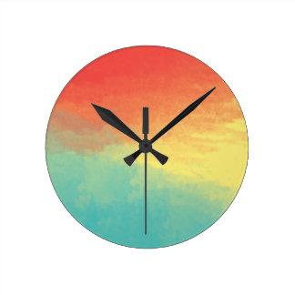 Textura de la acuarela de Ombre - trullo, Reloj Redondo Mediano