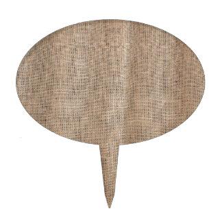Textura de la arpillera con el hilo grueso y figura de tarta