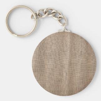 Textura de la arpillera con el hilo grueso y llavero redondo tipo pin