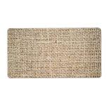 Textura de la arpillera etiqueta de envío