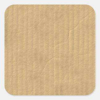 Textura de la cartulina acanalada pegatina cuadrada