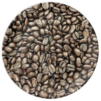 Textura de la estructura de los granos de café platos de cerámica