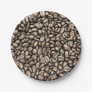 Textura de la estructura de los granos de café platos de papel