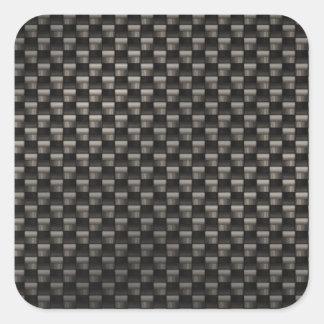 Textura de la fibra de carbono pegatina cuadrada