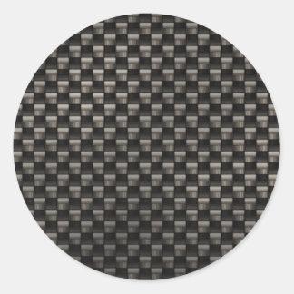 Textura de la fibra de carbono pegatina redonda