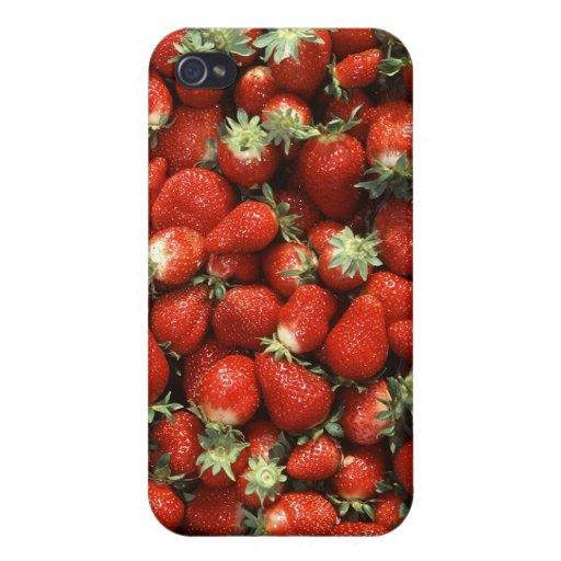 Textura de la fresa iPhone 4 fundas