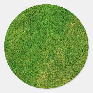 Textura de la hierba verde pegatina redonda