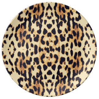 Textura de la impresión de la piel animal plato de cerámica